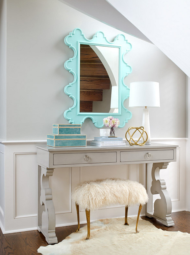 Foyer Console Table and Mirror. Gray foyer with pale gray console table and turquoise mirror. #Foyer #FoyerConsoleTable #FoyerMirror Bria Hammel Interiors. Gridley + Graves Photography