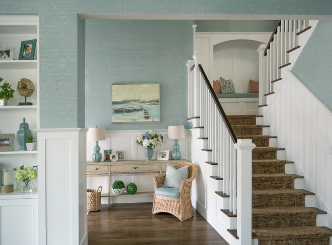 Foyer Staircase built in bench calm casual elegance coastal home console table cool colors SOFT COLORS Staircase traditional beach house tranquil wall art Wallpaper wicker chair