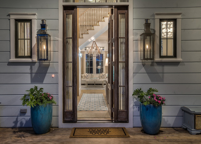 Front entry decorating ideas. Decorating your front entry with planters, new door matt and outdoor sconces. #FrontEntry 30avibe Photography.