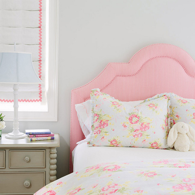 Girls Bedroom Ideas Pink and gray girl's bedroom features a pink candy stripe headboard Girls Room #GirlsBedroom #Pinkheadboard #KidsBedroom #GirlsRoom Waterleaf Interiors
