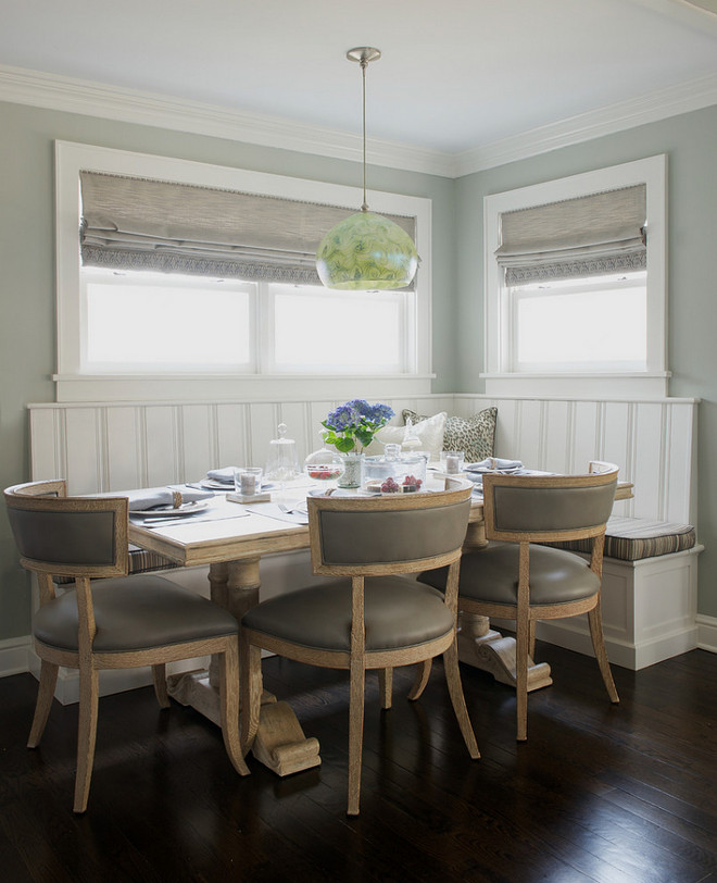 Gray Breakfast Nook, Gray Breakfast Nook Banquette, chairs, walls, Roman Shades #GrayBreakfastNook #BreakfastNook Dalia Canora Design
