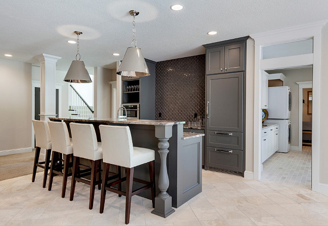 Gray cabinets and wall color ideas, Walls are painted in BM Edgecomb Gray and cabinets are BM Kendall Charcoal, #Benjaminmooreedgcombgray #benjaminmoore kendallcharcoal