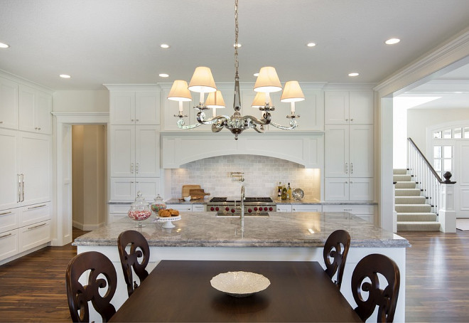 Kitchen island connected to table, Kitchen Island Table design ideas and photos, Kitchen Island Table Combo, Kitchen Island Table Combination #KitchenIslandTable Divine Custom Homes Bria Hammel Interiors
