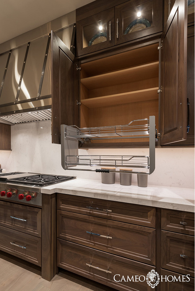Kitchen pull out rack. Kitchen upper cabinet with pull out rack for oils and spices. #kitchen #pulloutrack #kitchencabinetpulloutrack Cameo Homes Inc.