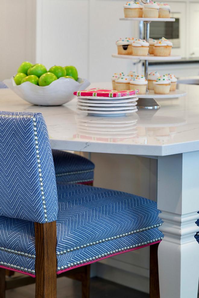 Kitchen stool fabric ideas. Durable kitchen stool fabric. Kitchen stool and fabric are from Grace Hill Design. #KitchenStoolFabric