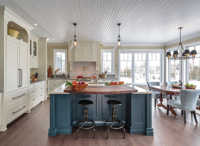 Kitchen with blue island and beadboard ceiling Kitchen beadboard ceiling and blue kitchen island #kitchen #bluekitchenisland #kitchenbeadboardceiling #beadboardceiling