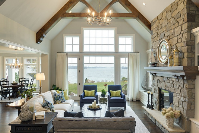 Lake house living room design and pictures #lakehouse #livingroom #livingroomdesign #livingroompictures #lakehouselivingroom Design by Stonewood, LLC