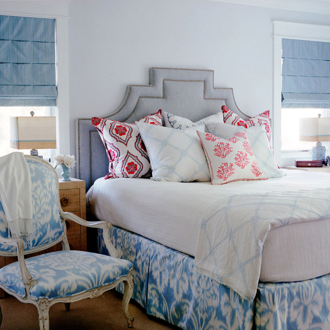 Light blue bedroom with gray headboard, Master bedroom with light blue walls and gray headboard #LightBlueBedroom #Bluebedroom #Grayheadboard Waterleaf Interiors