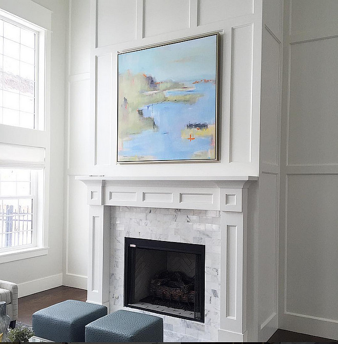 Living room with tall fireplace decorating ideas. How to decorate fireplace mantel in a living room with tall ceiling. Sita Montgomery Design