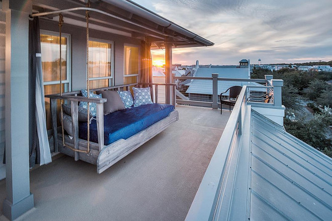 Master bedroom balcony with swing bed. #swingbed 30avibe Photography.