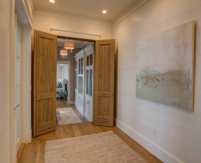 Master entry. A hallway with shiplap walls lead you to the master bedroom. #Masterentry 30A Interiors