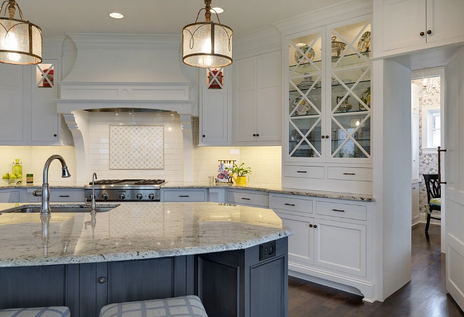 "Kitchen with X Mullion Cabinets, A hutch-style cabinet with x mullion doors and furniture-like base accentuates the custom feel of this gorgeous kitchen X Mullion Cabinets, X Mullion Cabinets design ideas and pictures, ""X Mullion Cabinets"" , X Mullion Cabinets design ideas and photos #XMullionCabinetsdesignideas #XMullionCabinetspictures #XMullionCabinets"