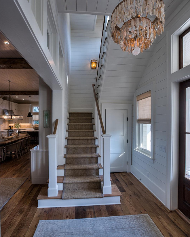 Plank walls foyer. Foyer with plank walls and reclaimed plank floors. Plank walls. Shiplap plank walls. Foyer white plank walls #Foyerplankwalls #Foyershiplapwalls #whiteplankwalls 30avibe Photography.