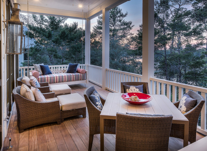 Porch furniture layout. Porch with swing furniture layout #PorchFurnitureLayout 30avibe Photography.