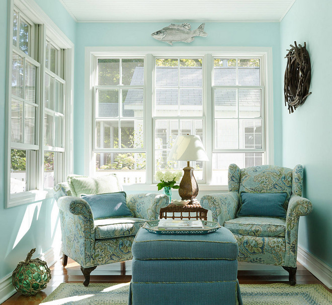 Aquamarine Paint Colors Via Bhg Com: Small Lake Cottage With Turquoise Interiors