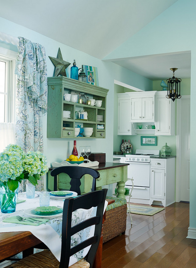 Small Lake Cottage with Turquoise Interiors - Home Bunch Interior Design Ideas