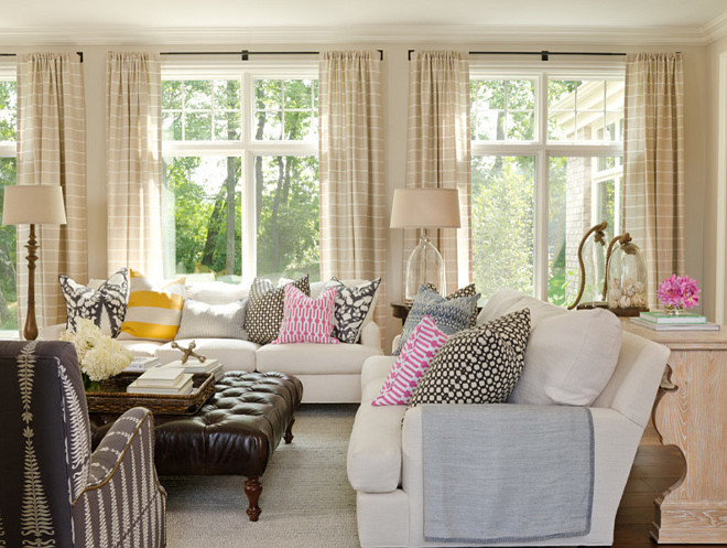 Stripe Draperies. Horizontal Stripe Draperies. Living Room with neutral Horizontal Stripe Draperies. #HorizontalStripeDraperies #StripeDraperies #LivingRoomDraperies Bria Hammel Interiors
