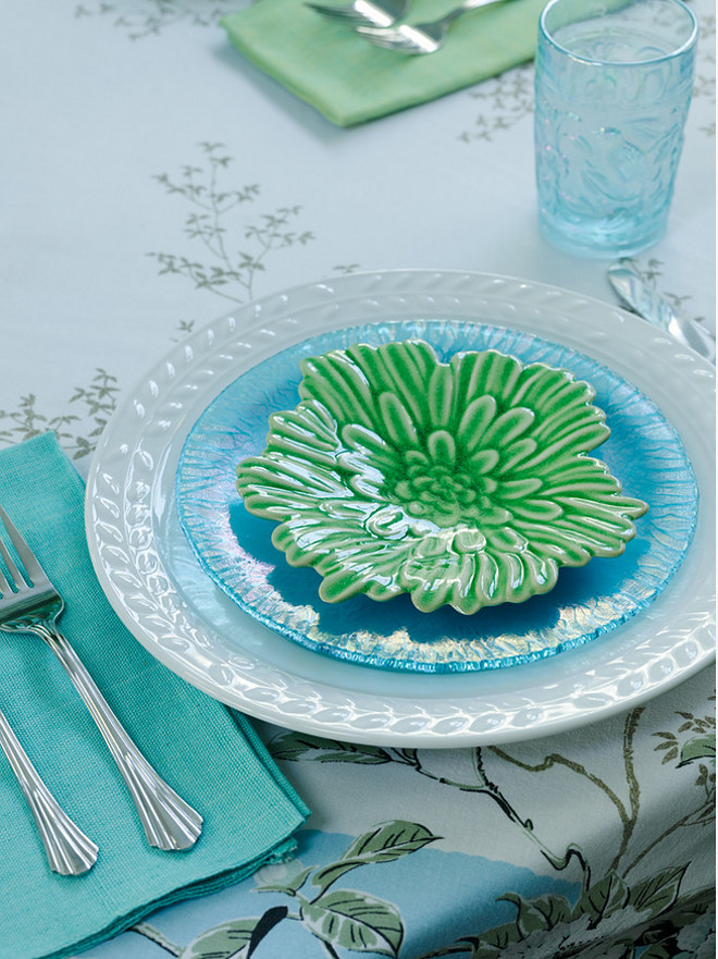 Turquoise aqua green table decor ideas. Erin O'Connor Design, Gridley + Graves Photographers