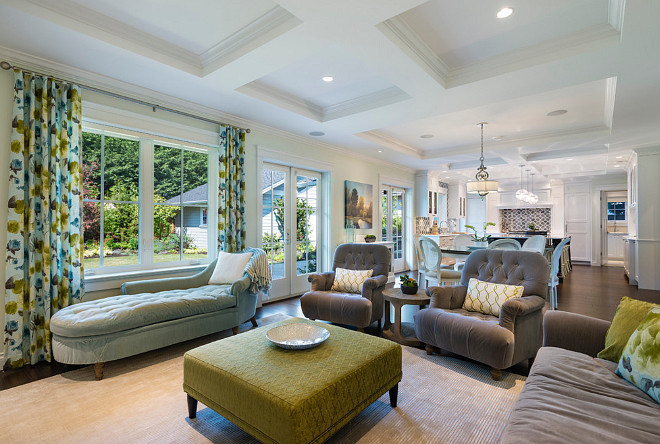 Open Interiors Coffered Ceiling. Open Interiors Coffered Ceiling Ideas. Family room with coffered ceiling opens to kitchen also with coffered ceiling. #OpenInteriorsCofferedCeiling Sarah Gallop Design Inc.