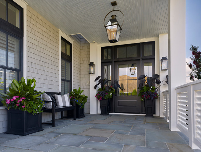 Porch with Black Front Door and Windows and Bluestone Floor Tiles. Porch with Black Front Door and Windows and Bluestone Floor Tiles #Porch #BlackFrontDoor #BlackWindows #BluestoneFloorTiles #BluestoneTiles #PorchTiles #PorchFlooring Asher Associates Architects