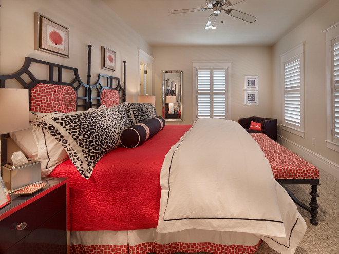 Navy and Red Bedroom Decorating Ideas. Classic coastal bedroom decorated in navy and red. Navy and red decor. Navy and red interiors. #NavyandRed #NavyredBedroom #NavyredBedroomdecor #Coastalbedroom #Classiccoastalinteriors #Coastalcolorpalette Asher Associates Architects. Megan Gorelick Interiors