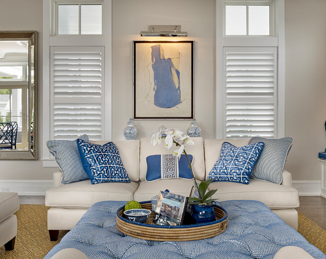 Neutral living room with blue and white decor. Beach house living room with blue and white decor. Blue and white decor. Neutral interior blue and white decor. #Blueandwhite #Beachhouse #Blueandwhitedecor #livingroom Asher Associates Architects. Megan Gorelick Interiors