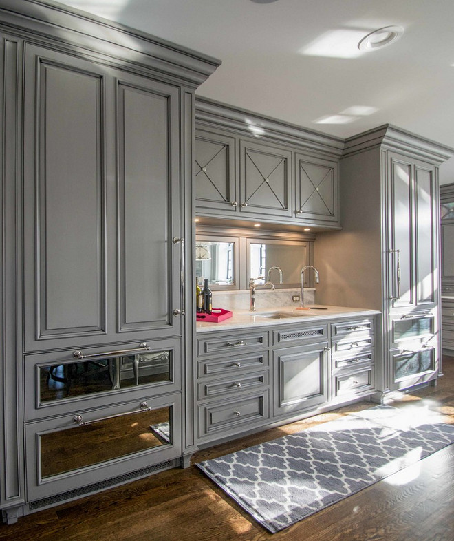 Furniture Like Kitchen Cabinet. Furniture Like Kitchen Cabinet with paneled fridge and freezer flanking kitchen bar.  Furniture Like Kitchen Cabinet. Large built-in refrigerators are integrated with mirrored cabinetry to enhance the traditional style of the kitchen. #furniturelikecabinet #furniturelikekitchencabinet Lori Wiles Design