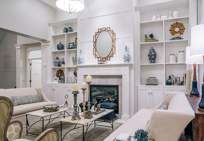 High Ceiling Living Room Fireplace with cabinets. High Ceiling Living Room Fireplace with cabinet on both sides. High Ceiling Living Room Fireplace with cabinet ideas #HighCeilingLivingRoom #HighCeilingLivingRoomFireplace #Fireplacecabinets DWL Photography