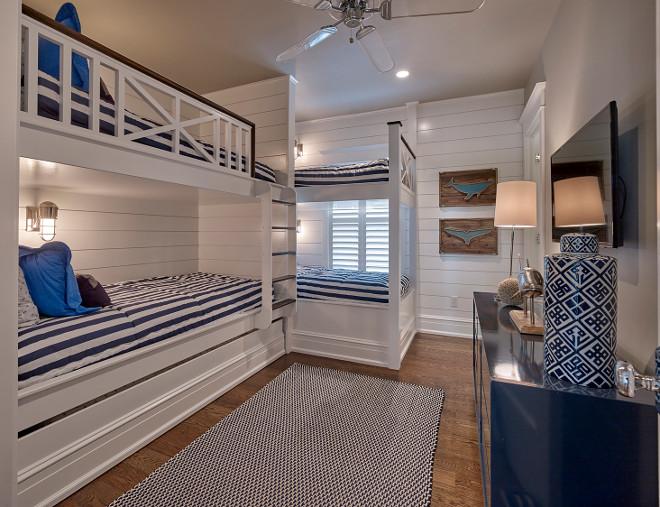 Bunk Bed Railing. Bunk Bed Railing Design. Bunk Room bunk beds with custom railings. Shiplap bunk room with custom Bunk Bed Railing. #BunkBedRailing #BunkRoom #CustomBunkbed #CustomBunkBedRailing #MudroomRailing Asher Associates Architects. Megan Gorelick Interiors