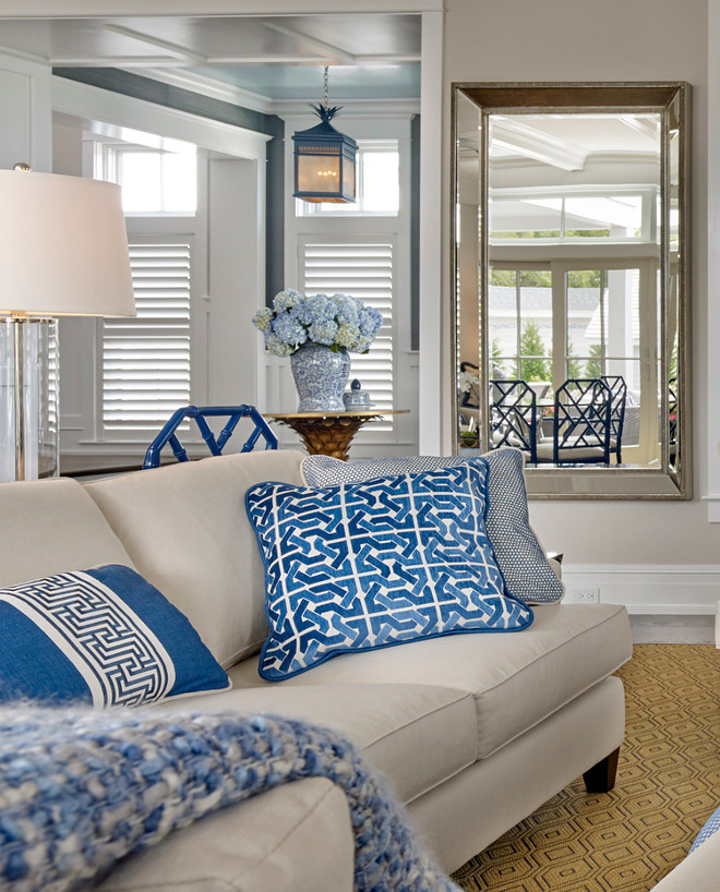 Blue and white pillows. Blue and white pillows on neutral linen couch. Blue and white pillows on neutral sofa. Blue and white pillows and throw. #Blueandwhitepillows Asher Associates Architects. Megan Gorelick Interiors
