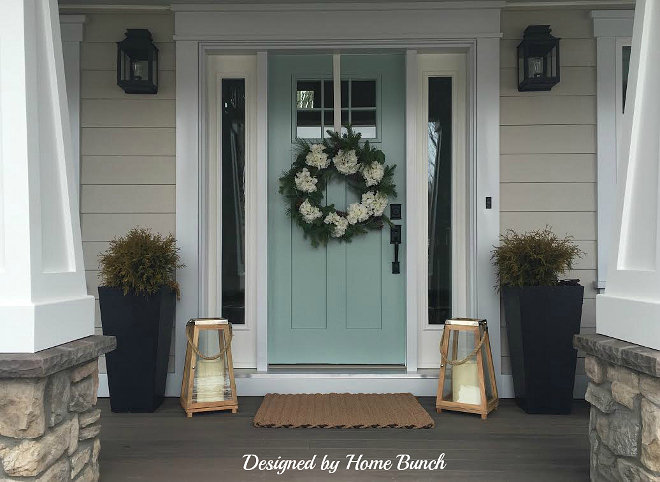 Home Exterior Paint Color. Siding Paint Color is Revere Pewter HC-172 Benjamin Moore. Front Door Paint Color is Benjamin Moore Wythe Blue. Benjamin Moore Wythe Blue Door. Benjamin Moore Revere Pewter Exterior Paint Color. #BenjaminMooreWytheBlue Designed by Home Bunch