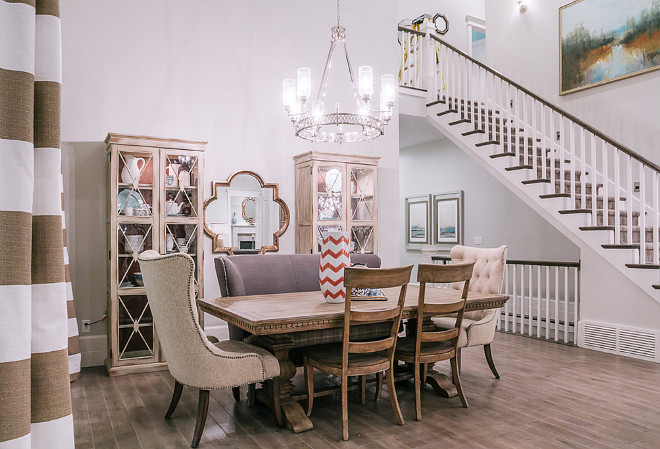 Dining Room. High Ceiling Dining Room Decorating Ideas. How to decorate a dining room with high ceiling. Grounding a dining room with high ceiling. #DiningRoom #HighCeiling #HighceilingDiningroom #Diningroomceiling #Diningroomideas #Diningroomdesign DWL Photography