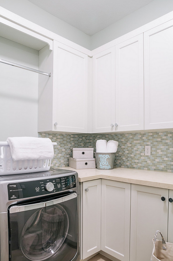 Laundry Room Countertop. Best Countertop for Laundry Rooms.  Laundry room with quartz countertop and mini-tile backsplash. Laundry Room Quartz Countertop and Mini-tiles Backsplash Ideas. Quartz in Laundry Room #LaundryRoomQuartz #LaundryRoomQuartzCountertop #LaundryRoomQuartzMinitilesBacksplash #LaundryRoomBacksplash #Quartz #Bestlaundryroomcountertop DWL Photography