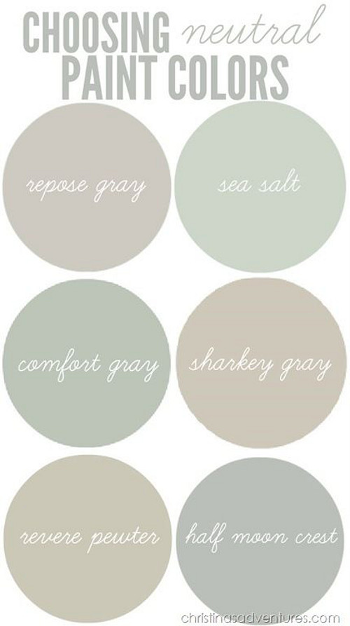 Choosing neutral paint color for your interiors. Neutral Paint Color Best Sellers. Sherwin Williams Repose Gray. Sherwin Williams Sea Salt. Sherwin Williams Comfort Gray. Martha Stewart Sharkey Gray. Benjamin Moore Revere Pewter. Benjamin Moore Half Moon Crescent. Via Christinas Adventures.