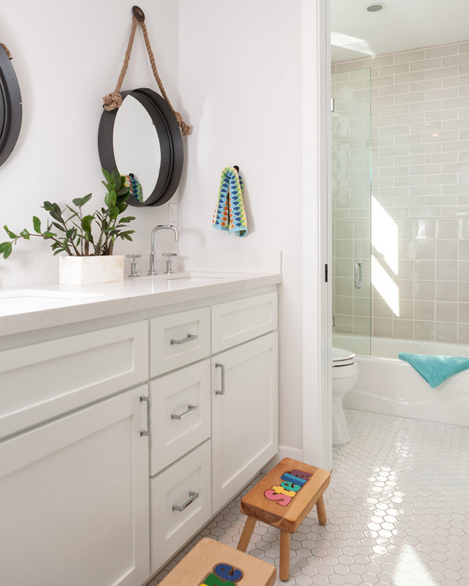 jack-and-jill bathroom. jack-and-jill bathroom plan. jack-and-jill bathroom Ideas. jack-and-jill bathroom with white hex floor tiles. #jackandjillbathroom #jackandjillbathroomplan #jackandjillbathroomideas #jackandjillbathroomfloortiles #jackandjillbathroomhextiles #jackandjillbathroomtiles