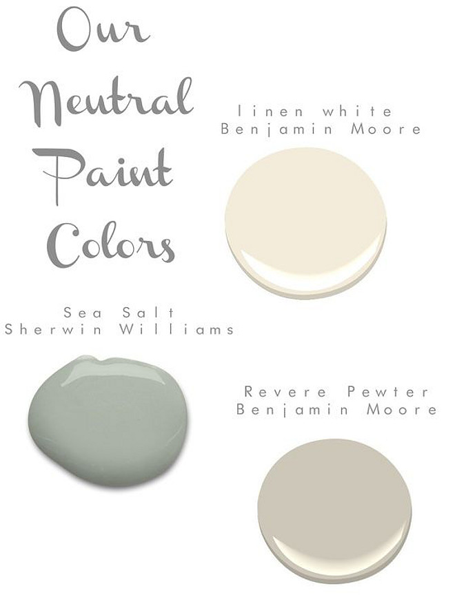 Neutral Colors for the New Home. Benjamin Moore Linen White. Sherwin Williams Sea Salt. Benjamin Moore Revere Pewter. #BenjaminMooreLinenWhite #SherwinWilliamsSeaSalt #BenjaminMooreReverePewter #Neutralcolors #NewhomeColors #Newhomepaintcolor . Via Sarah tucker styles
