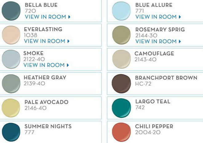 Exciting Paint Colors by Benjamin Moore. Try these colors on your front door for a splash of color this spring. Benjamin Moore Bella Blue. Benjamin Moore Blue Allure. Benjamin Moore Everlasting. Benjamin Moore Rosermay Sprig. Benjamin Moore Smoke. Benjamin Moore Camouflage. Benjamin Moore Heather Gray. Benjamin Moore Branchport Brown. Benjamin Moore Pale Avocado. Benjamin Moore Largo Teal. Benjamin Moore Summer Nights. Benjamin Moore Chilli Pepper. #BenjaminMoorePaintColors Via Benjamin Moore.