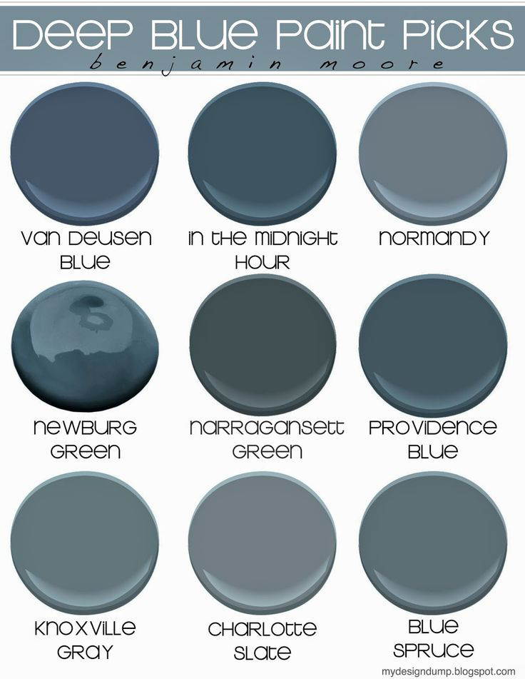 Navy Blue Paint Colors. Benjamin Moore Navy Blue Paint Colors. Perfect navy paint color for blue island and kitchen cabinets. Benjamin Moore Van Deusen Blue. Benjamin Moore In the Midnight Hour. Benjamin Moore Normandy. Benjamin Moore Newburg Green. Benjamin Moore Narragansett Green. Benjamin Moore Providence Blue. Benjamin Moore Knoxville Gray. Benjamin Moore Charlotte Slate. Benjamin Moore Blue Spruce. #NavyBlueBenjaminMoore #NavyBluepaintcolor #Blueislandpaintcolor #Bluecabinetpaintcolor Via My Design Dump