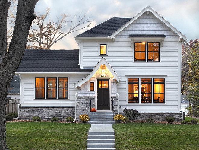 White Hardi exterior ideas. 6 inch exposure Hardie. Dove white semi transparent stain on the shaker town shingles. Black windows are Bronze exterior on Marvin Integrity Awad + Koontz Architects Builders