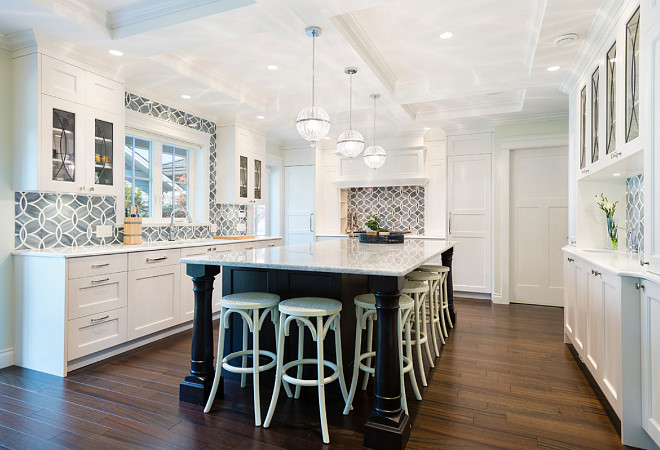 White Kitchen With Blue Gray Backsplash Tile Home Bunch Interior