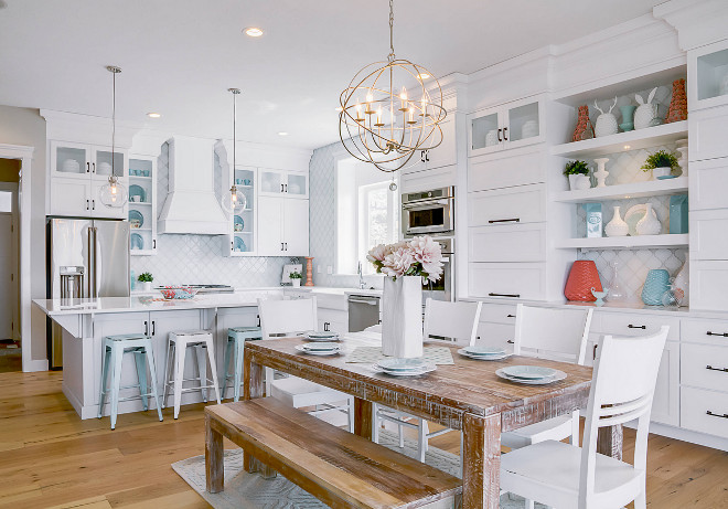 White kitchen with turquoise and coral decor. White kitchen with turquoise and coral decorating ideas. White kitchen with turquoise and coral decor ideas. Beach White kitchen with turquoise and coral decor. #Whitekitchenturquoisedecor #Whitekitchenturquoisecoraldecor #turquoise #kitchen #coraldecor DWL Photography