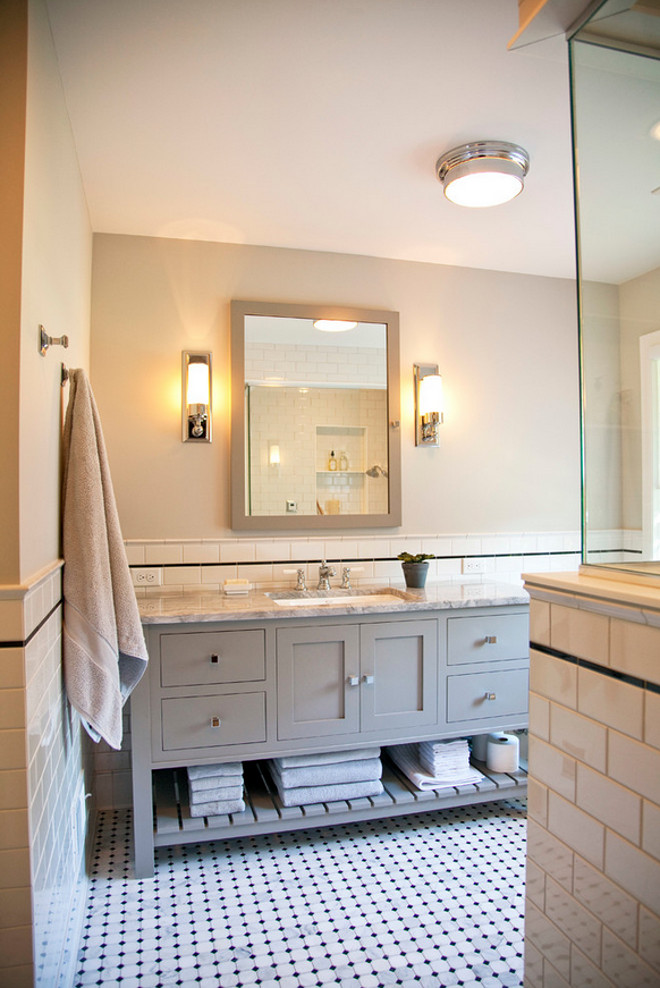 Classic Bathroom Reno. Classic Bathroom Reno Ideas. Classic Bathroom Reno with new vanity, floor tile and half wall subway tiles. #ClassicBathroomReno #BathroomReno TreHus Architects+Interior Designers+Builders