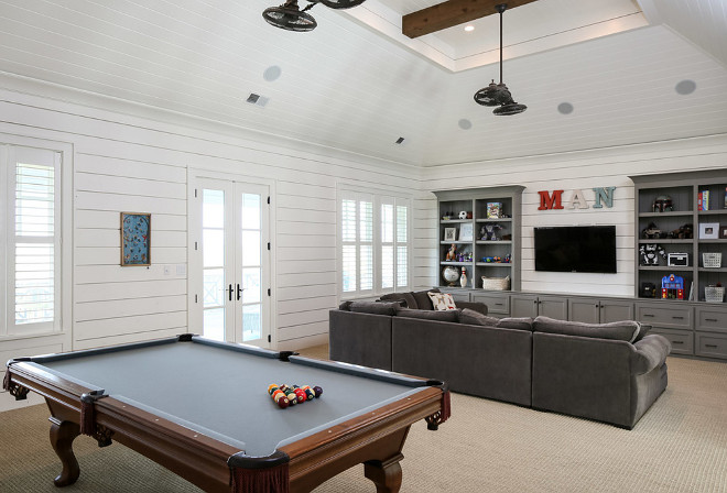 Games Room. Above Garage Games Room. Above Garage Games Room Layout. Above Garage Games Room Ideas. Above Garage Games Room Design. Above Garage Games Room with shiplap walls. #AboveGarageGamesRoom #GamesRoom Artisan Signature Homes.
