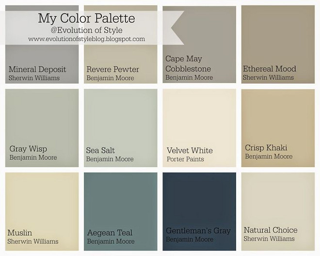 Home color palette ideas. Sherwin Williams Mineral Deposit. Benjamin Moore Revere Pewter. Benjamin Moore Cape May Cobblestone. Sherwin Williams Ethereal Mood. Benjamin Moore Gray Wisp. Benjamin Moore Sea Salt. Porter Paints Velvet White. Benjamin Moore Crisp Khaki. Sherwin Williams Muslin. Benjamin Moore Aegean Teal. Benjamin Moore Gentlemans Gray. Sherwin Williams Natural Choice. #Homecolorpalette Via Evolution of Style.