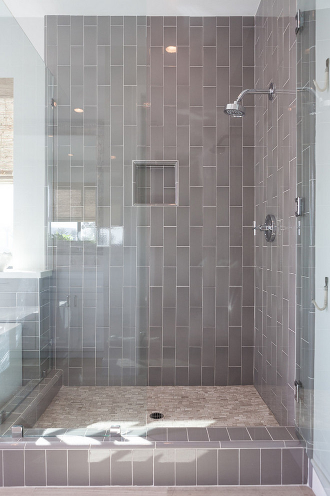 Gray Shower Tiles. Gray Shower Subway Tiles. Vertical Gray Shower Subway Tiles. Gray Shower Subway Tiles. Shower Tile Laid Vertically. #Grayshowertile #Graysubwaytile #grayshowersubwaytile #verticaltile #showertile #tilelaidvertically Jasmine Roth.