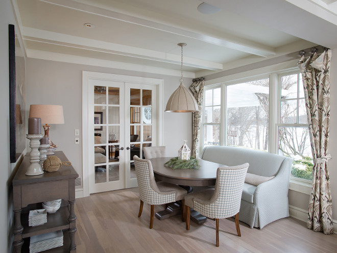 Breakfast room. Breakfast room settee. Breakfast room paint color Benjamin Moore Revere Pewter. Breakfast room Chairs. Breakfast room Lighting. Breakfast room Flooring. Breakfast room ceiling. Breakfast room furniture. Breakfast room decor. Breakfast room ideas #Breakfastroom Mike Schaap Builders