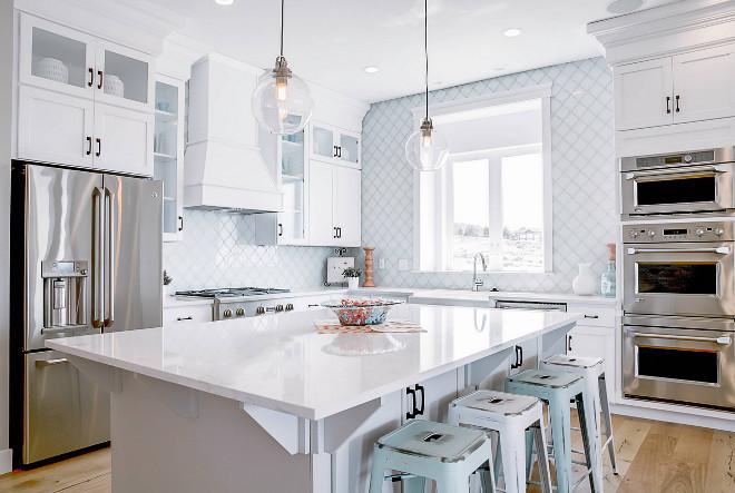 Kitchen white glass arabesque tile backsplash. Beach style kitchen with white glass arabesque tile backsplash. #whiteglassarabesquetilebacksplash #arabesquetilebacksplash #whitearabesquetilebacksplash DWL Photography
