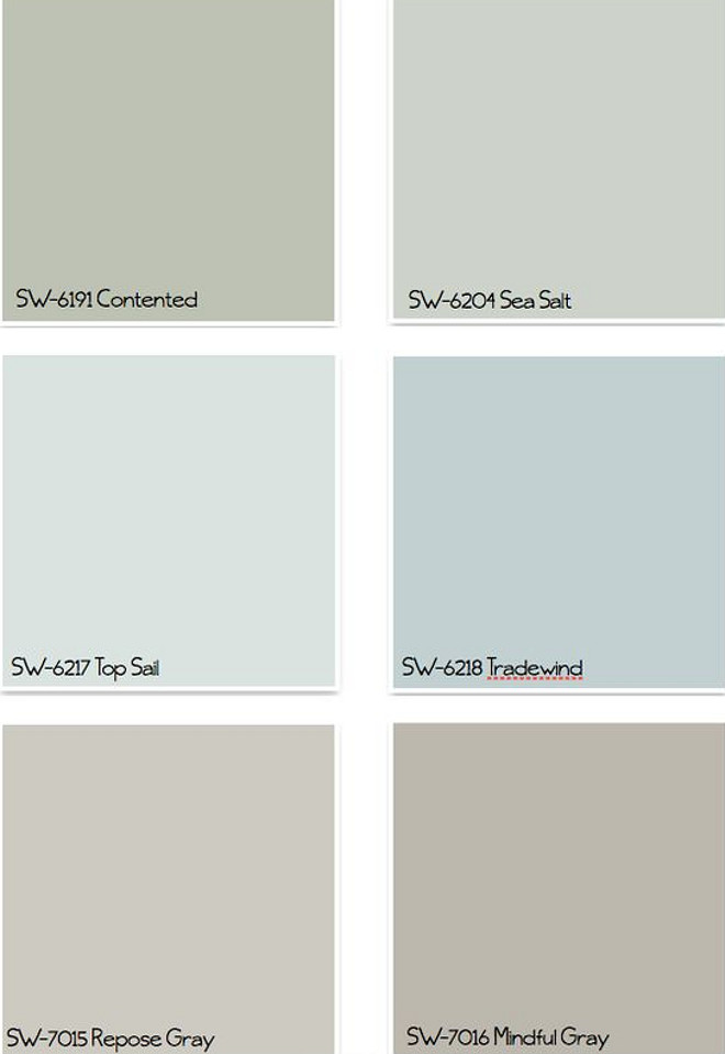 Coastal Colors for any home any style. Sherwin Williams SW6191 Contented. Sherwin Williams SW6204 Sea Salt. Sherwin Williams SW6217 Top Sail. Sherwin Williams SW6218 Tradewind. 7015 Re[pse Gray. Sherwin Williams SW7016 Mindful Gray. #CoastalColors #CoastalPaintColors #CoastalBluePaintColor #CoastalGreenPaintColor #CoastalGrayPaintColors #SherwinPaintcolors