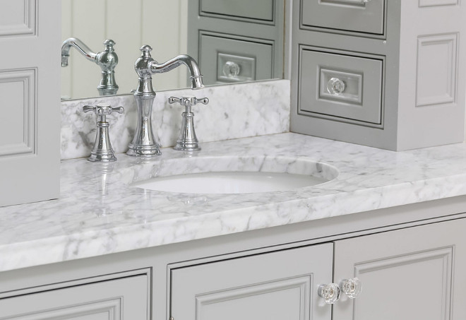 Bathroom Gray Cabinet Hardware. Bathroom Gray Cabinet with glass knobs. Bathroom Gray Cabinet Hardware is from Van Dykes. #BathroomHardware #BathroomGrayCabinetHardware #BathroomCabinetHardware #BathroomKnobs #Glassknobs #VanDykes Artisan Signature Homes.