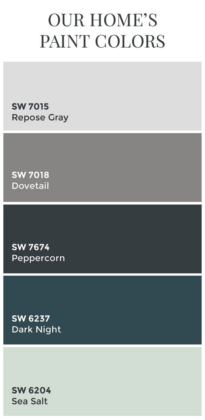 Transitional Home Color Scheme. Transitional Whole House Color Palette. Sherwin Williams SW7015 Repose Gray. Sherwin Williams SW7018 Dovetail. Sherwin Williams SW7674 Peppercorn. Sherwin Williams SW6237 Dark Night. Sherwin Williams SW6204 Sea Salt. #SherwinWilliamsPaintColors